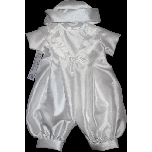 Boys All White Sailor Romper     5046