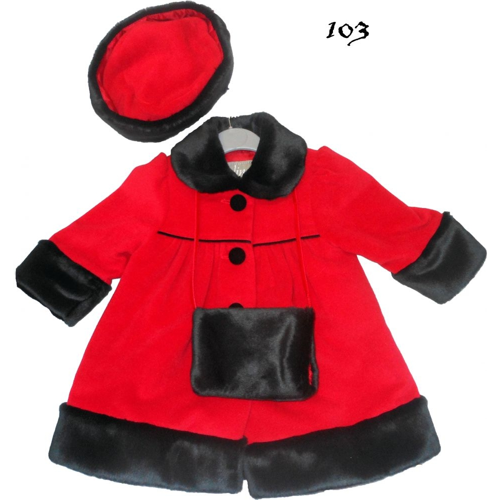 COATSCARDIGANS AND BLANKETS - Girls Red Coat with matching hat
