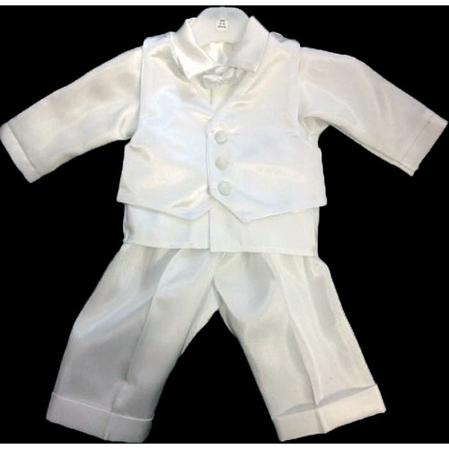 Boys White Bow Tie Christening Set