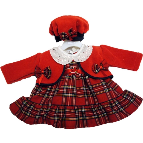 Tartan Dress with Hat and Cardigan                   dr1081